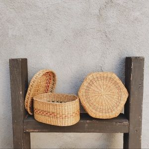 SET OF 2 WOVEN VINTAGE CATCH ALL BASKETS